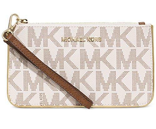Michael Kors Jet Set Medium Signature Specchio Wristlet Wallet in Vanilla