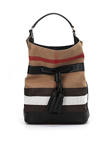 BURBERRY Woman's Ashby Beige Plaid Check Canvas Leather Tote Bucket Bag Handbag