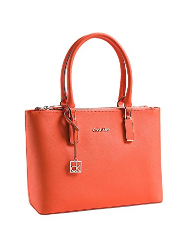 Calvin Klein Scarlett Double Zip Carry All Bag Handbag Purse Orange Fire