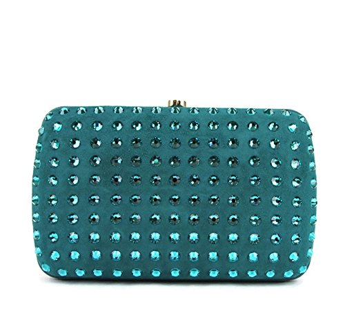 Gucci Turquoise Suede Broadway Evening Bag Crystal Clutch 310005