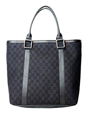 Gucci Large Canvas Leather Tote Shoulder Bag in Black