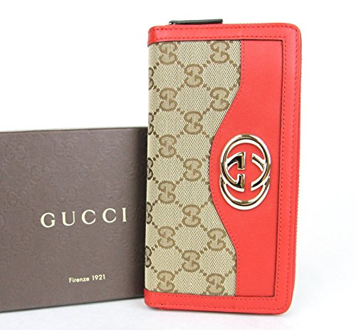 Gucci Beige Red Leather Zip Around Wallet Sukey Canvas GG Clutch 308012 8411