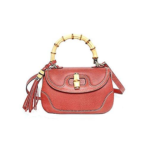 Gucci New Bamboo Large Top Handle Bag Coral Red Leather Handbag Shoulderbag
