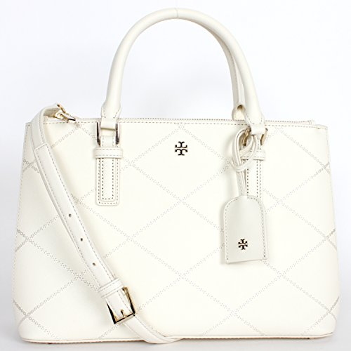 Tory Burch Robinson Stitched Mini Double-Zip Tote – New Ivory