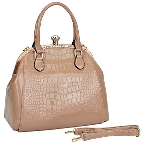 MG Collection ADDY Faux Croc Embossed Print & Rhinestone Doctor Style Satchel Tote- Taupe