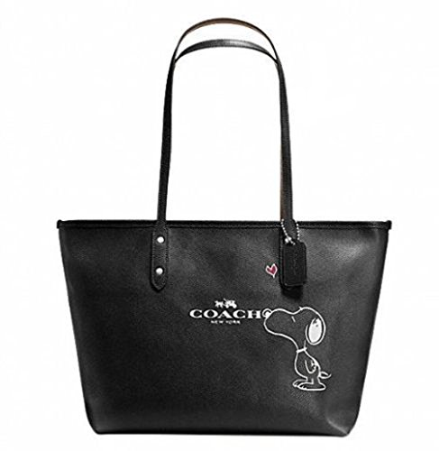 Coach X Peanuts Snoopy, City Zip Tote, Black Calf Leather, F37273
