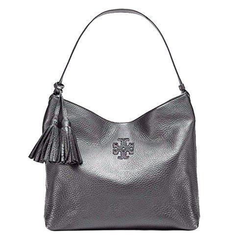 Tory Burch Thea Hobo Navy Blue Leather Handbag Gunmetal Silver