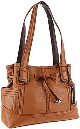 Tignanello Super Stitch Drawstring Shoulder Bag Brown