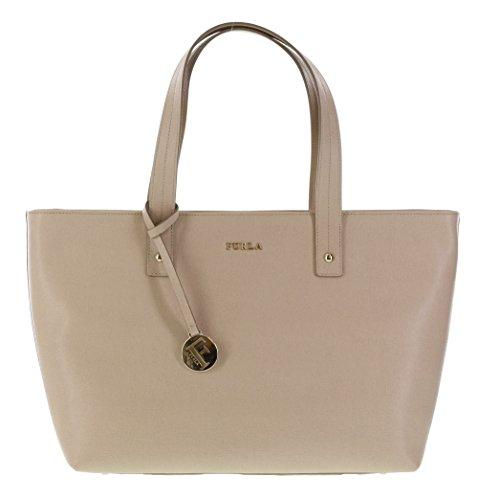 Furla Daisy Saffiano Leather Satchel Handbag Purse in Acero (021)