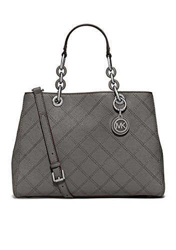 Michael Kors Cynthia Medium Satchel Chain Handbag Purse Steel Grey