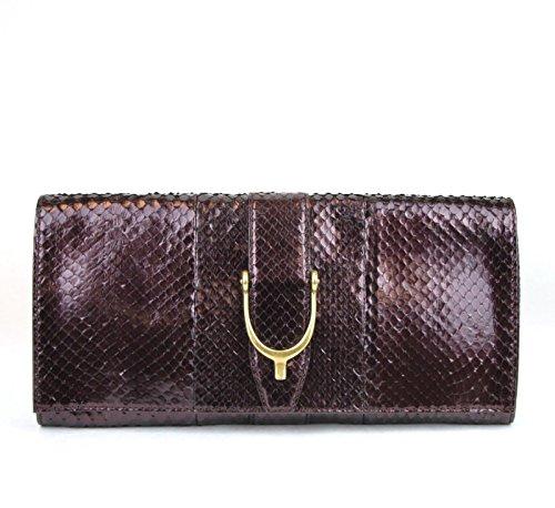 Gucci Plum Python Soft Stirrup Python Clutch Evening Bag 304719