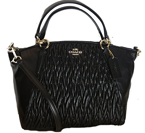 Coach Small Kelsey Satchel in Black Gathered Twist Leather F37081