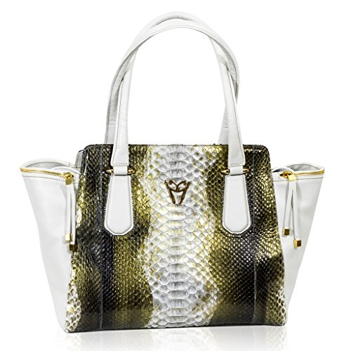 Ghibli Italian Designer Golden Beryl Python Leather Large Flared Tote Bag