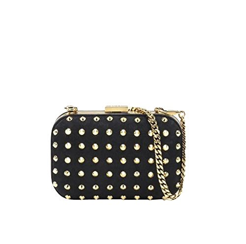 Gucci Black Leather Broadway Studded Evening Clutch Bag 297416 1000