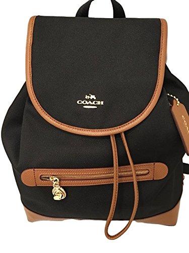 Coach Sawyer Canvas Backpack Handbag Black Tan Black F37240