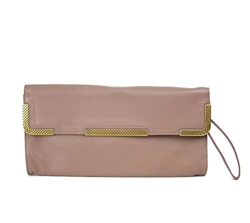 Bottega Veneta Gold Mauve Leather Wristlet Clutch Bag 325241 6322