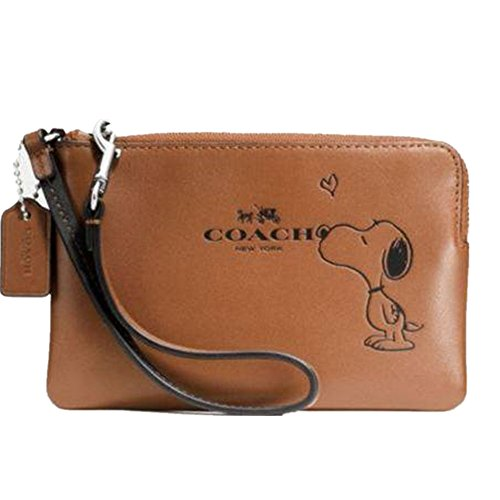 Coach Ladies 65193 X Peanuts Corner Zip Wristlet Calf Leather