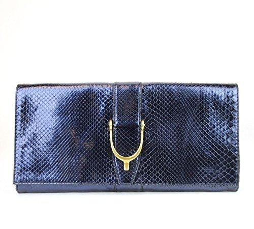 Gucci Blue Python Soft Stirrup Python Clutch Evening Bag 304719