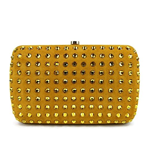 Gucci Yellow Suede Broadway Evening Bag Crystal Clutch 310005
