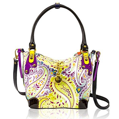 Marino Orlandi Italian Designer Yellow Patent Paisley Leather Crossbody Bag