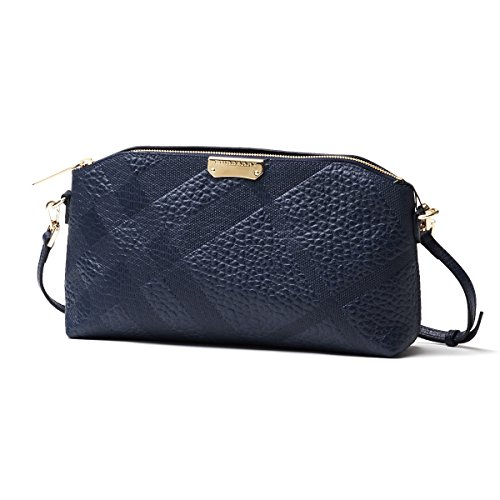 BURBERRY Chichester Blue Check Pebbled Leather Clutch Cross Body Handbag Bag