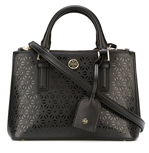 Tory Burch Robinson Floral Perforated Micro Double Zip Tote in Black $475.00