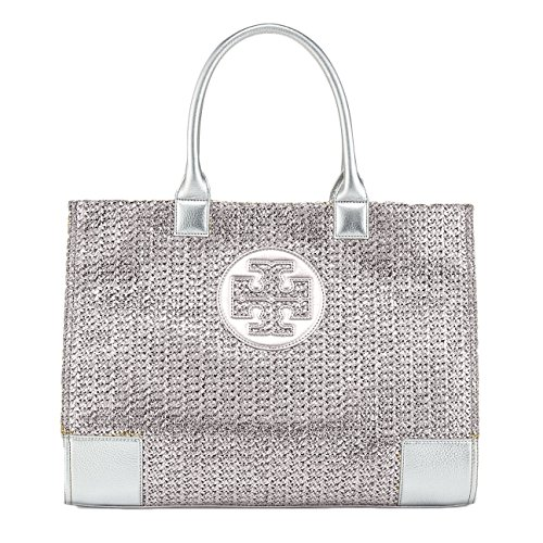 Tory Burch Ella Metallic Straw Tote Bag – Silver