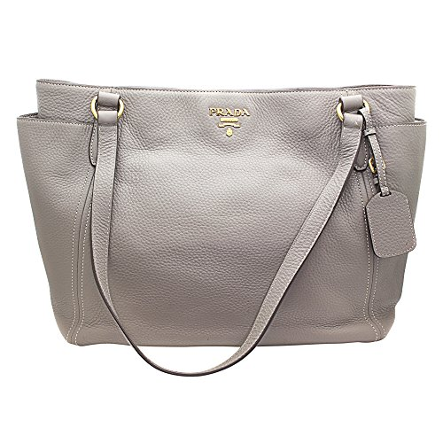 Prada BR4970 Vitello Daino Sacca 2 Manici Grey Shoulder Bag Retail $1895