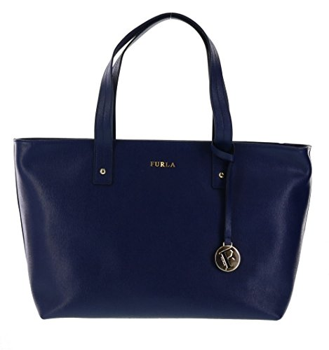 Furla Daisy Saffiano Leather Satchel Handbag Purse in Navy (026)