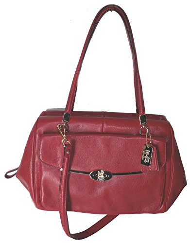 Coach Madison Madeline East West Leather Satchel Scarlet Red Purse