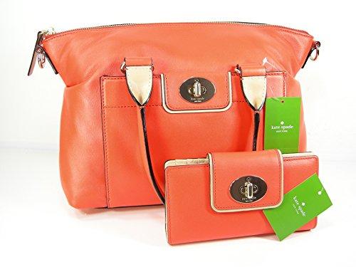 New Kate Spade Satchel Purse Cross Body Bag Orange Leather & Wallet Set 2 Piece