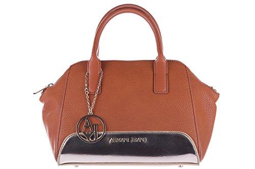 Armani Jeans women's handbag shopping bag purse gold brown