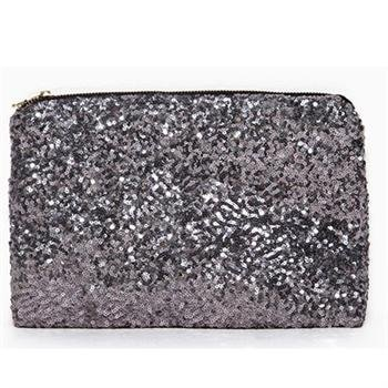 Silver Dazzling Glitter Sparkling Bling Sequins Handbag Clutch Evening Party Bag