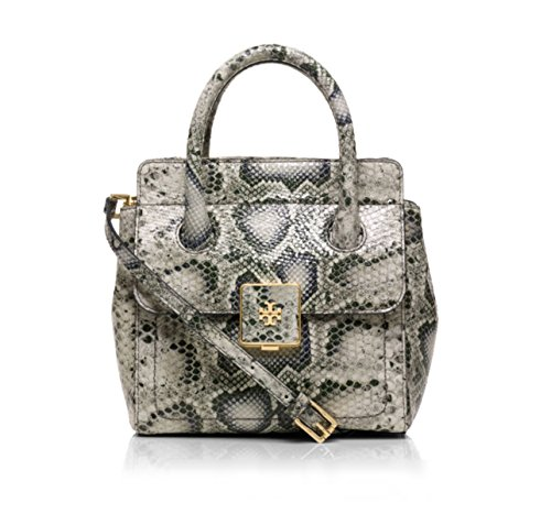 Tory Burch Clara Black & Grey Snake Print Embossed Leather Small Tote