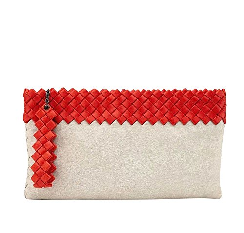 Bottega Veneta Off White Red Leather Woven Clutch Purse 283584 9568