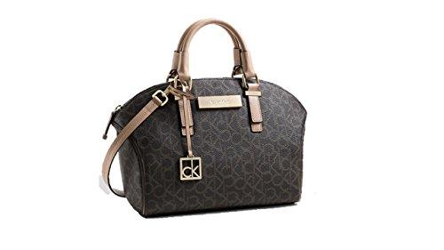 Calvin Klein Jordan City Dome Satchel Bag Handbag Brown