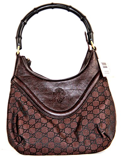 GUCCI DARK BROWN CANVAS/LEATHER BAG WITH HYSTERIA LOGO GG- 262902-G1X3G-8704