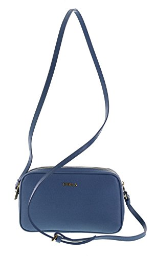 Furla B30 Lilli Saffiano Leather Crossbody Purse Shoulder Bag in Indaco