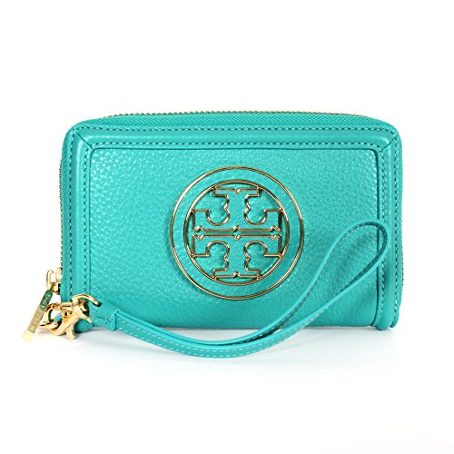 Tory Burch Amanda Smart Phone Wristlet in Turquoise Leather