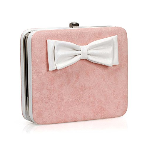 BMC Womens PU Leather Wrapped Bow Decoration Square Hardcase Clutch Handbag