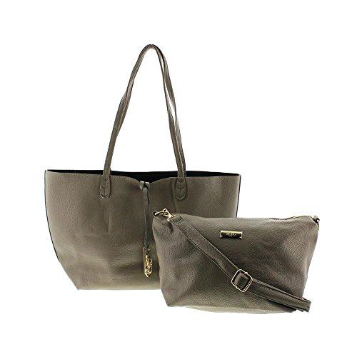 BCBG Paris Womens Reversible Faux Leather Tote Handbag