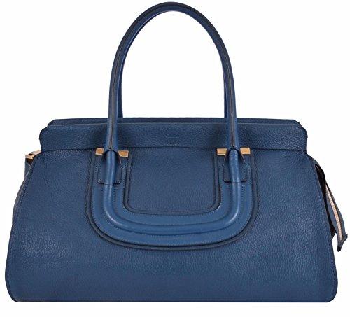 CHLOÉ Women's Large Blue Textured Leather Everston Purse Handbag