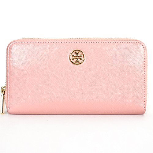 Tory Burch Robinson Saffiano Leather Zip Continental Wallet Rose Sachet