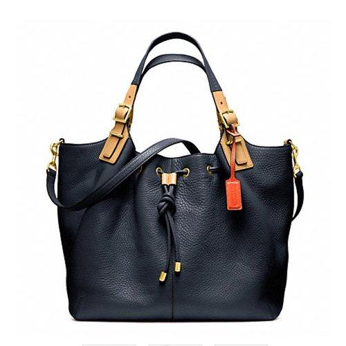 Coach Soft Pebbled Leather Drawstring Xl Shoulder Handbag Blue 25307