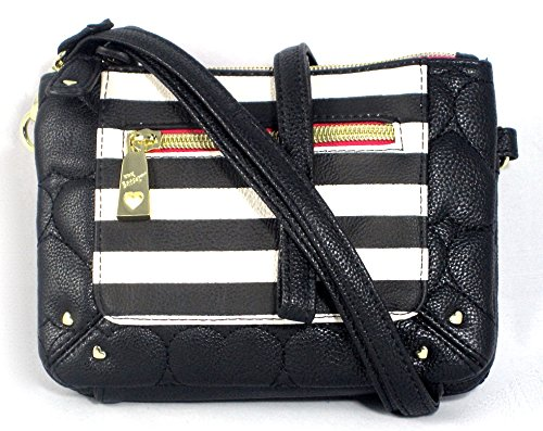 Betsey Johnson Organizer Cross Body Heart and Stripe Purse