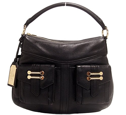 Ralph Lauren Leather Hobo Bag Handbag Purse, Black