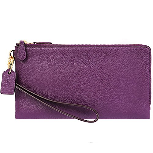 Coach Pebbled Leather Double Zip Wallet/Wristlet 53561 Plum