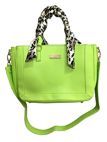 "BCBG Paris Apple Green ""Scarf Story"" Faux Leather Handbag"