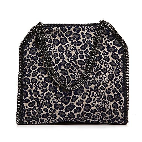 Stella Mccartney Grey Fabric Leopard Navy Falabella Shoulder Bag Gunmetal Hardware Handbag Bag NEW