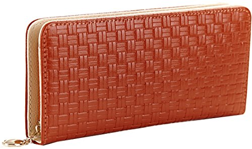 Heshe Soft Leather Women Ladies Purse Woven Pattern Long Wallet Zippered Around Clutch Handbag Card Phone Holder Checkbook Case